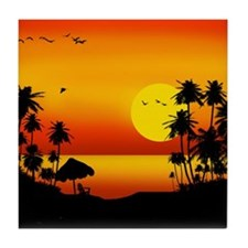 Island Sunset Tile Coaster