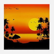Island Sunset Tile Coaster