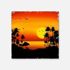 "Island Sunset Square Sticker 3"" x 3"""