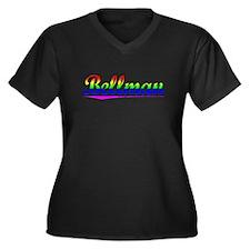 Bellman, Rainbow, Women's Plus Size V-Neck Dark T-