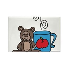 Coffee Cup Teddy Bear Rectangle Magnet