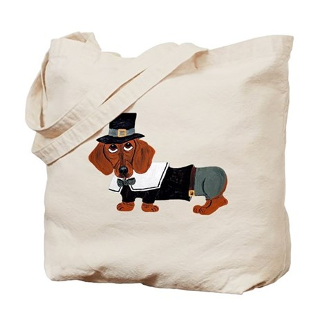 Dachshund Thanksgiving Pilgrim Tote Bag