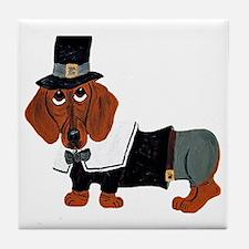 Dachshund Thanksgiving Pilgrim Tile Coaster