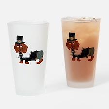 Dachshund Thanksgiving Pilgrim Drinking Glass