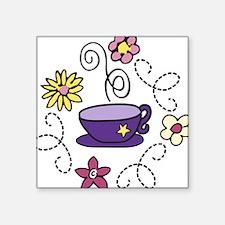 "Tea Time Square Sticker 3"" x 3"""
