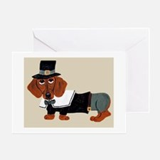 Dachshund Thanksgiving Pilgrim Greeting Card