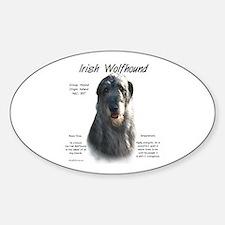 Grey Irish Wolfhound Oval Decal