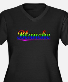 Blanche, Rainbow, Women's Plus Size V-Neck Dark T-