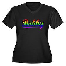 Bobby, Rainbow, Women's Plus Size V-Neck Dark T-Sh