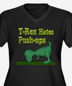 T-Rex hates push-ups Women's Plus Size V-Neck Dark