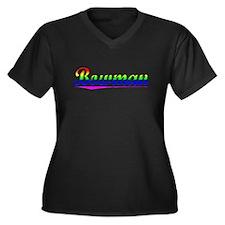 Bowman, Rainbow, Women's Plus Size V-Neck Dark T-S