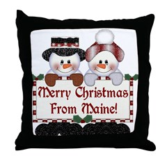 Merry Christmas From Maine! Throw Pillow