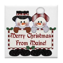Merry Christmas From Maine! Tile Coaster