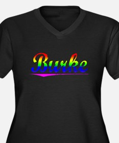 Burke, Rainbow, Women's Plus Size V-Neck Dark T-Sh
