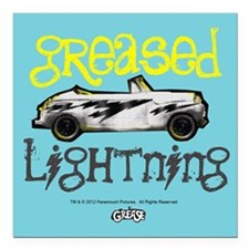 "Greased Lightning Square Car Magnet 3"" x 3&qu"