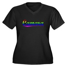 Camara, Rainbow, Women's Plus Size V-Neck Dark T-S