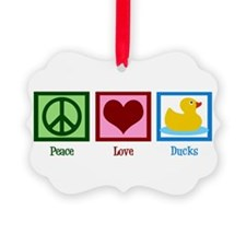 Peace Love Ducks Picture Ornament
