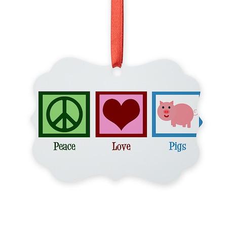 Peace Love Pigs Picture Ornament