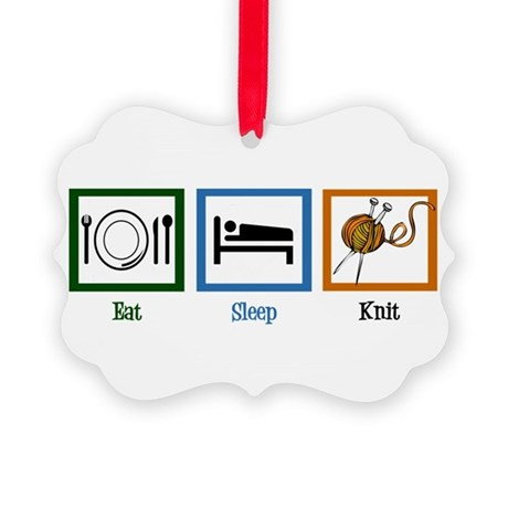 Eat Sleep Knit Picture Ornament