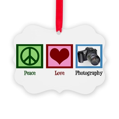 Peace Love Photography Picture Ornament