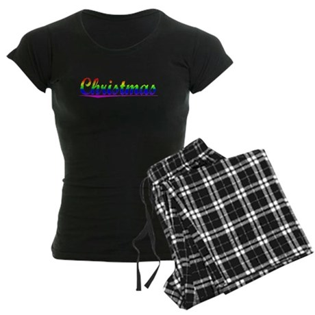 Christmas, Rainbow, Women's Dark Pajamas