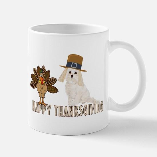 Cockapoo and Turkey Happy Thanksgiving Mug