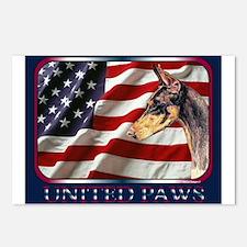 Doberman Pinscher Flag USA Postcards(8)
