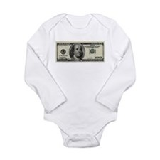 100 Dollar Bill Long Sleeve Infant Bodysuit
