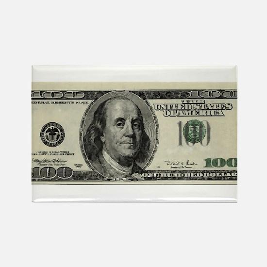 100 Dollar Bill Rectangle Magnet