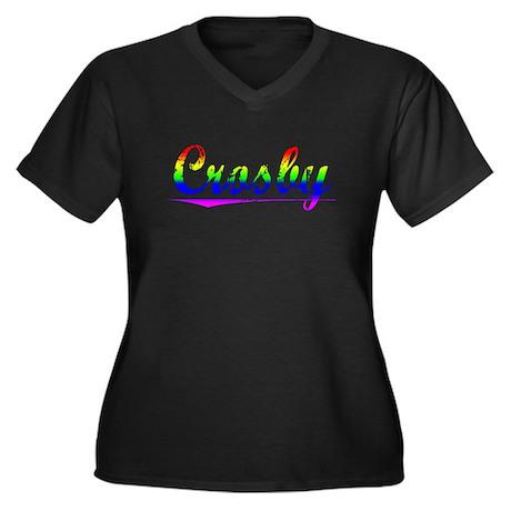 Crosby, Rainbow, Women's Plus Size V-Neck Dark T-S