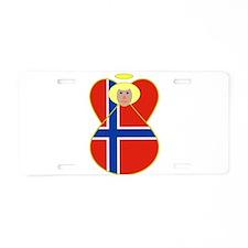 Norwegian Flag Angel Blonde Hair Aluminum License