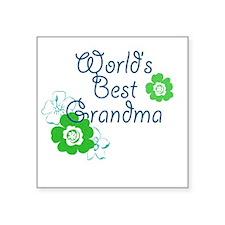 "Worlds Best Grandma Square Sticker 3"" x 3"""