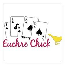 "Euchre Chick Square Car Magnet 3"" x 3"""