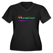 Damian, Rainbow, Women's Plus Size V-Neck Dark T-S