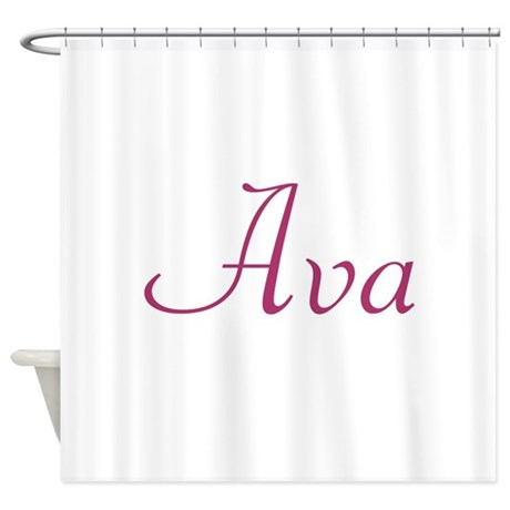 ava pink shower curtain by namesupershop