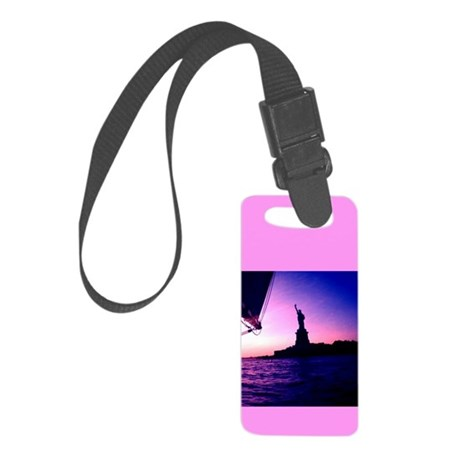 Lady Liberty Sail NYC Pink Designer Luggage Tag sm