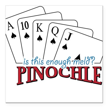 "Pinochle Cards Square Car Magnet 3"" x 3"""
