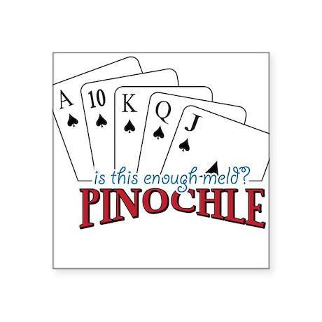 "Pinochle Cards Square Sticker 3"" x 3"""