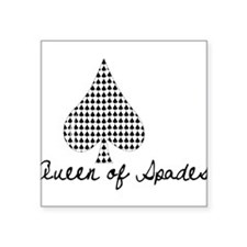 "Queen of Spades Square Sticker 3"" x 3"""