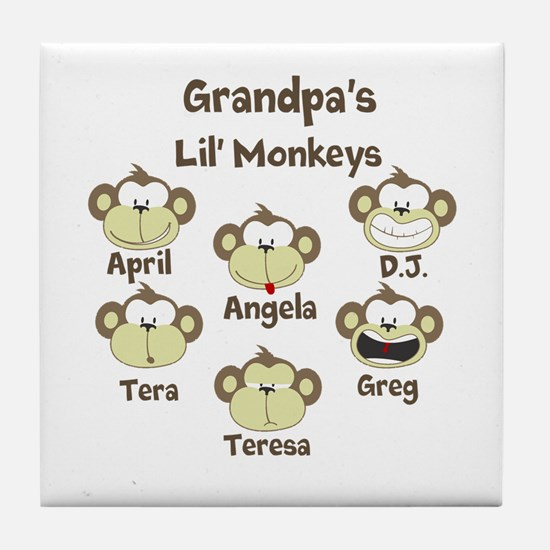 Grand kids monkeys Tile Coaster