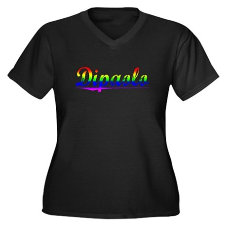 Dipaolo, Rainbow, Women's Plus Size V-Neck Dark T-