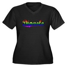 Dipaolo, Rainbow, Women's Plus Size V-Neck Dark T-