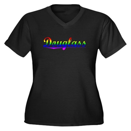 Douglass, Rainbow, Women's Plus Size V-Neck Dark T