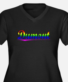 Dumont, Rainbow, Women's Plus Size V-Neck Dark T-S