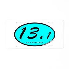 Half Marathon 13.1 aqua Aluminum License Plate
