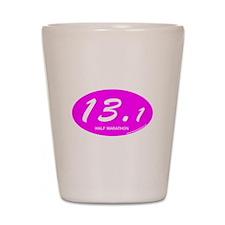 Pink Oval 13.1 Half Marathon p.png Shot Glass