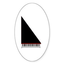 Piano #3 - Black - Oval Decal
