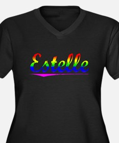 Estelle, Rainbow, Women's Plus Size V-Neck Dark T-