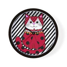 Classy Ladybug Cat Wall Clock
