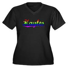 Hayles, Rainbow, Women's Plus Size V-Neck Dark T-S